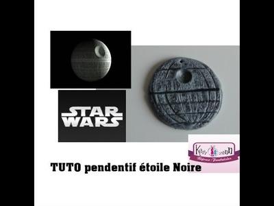TUTO POLYMERE EN PATE CERNIT STAR WARS 1 pendentif  L'ETOILE NOIRE