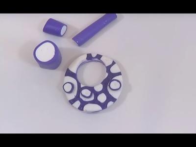 ► [ TUTO ] Création d'une Canne pour pendentif en pâte polymère bleu et blanche