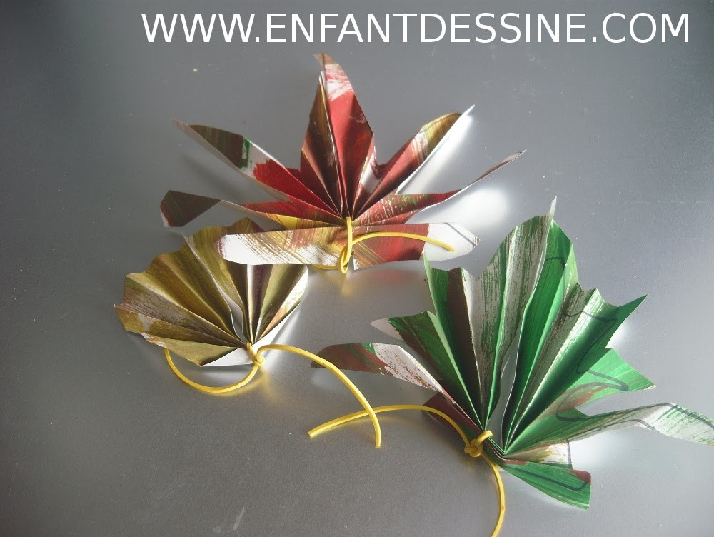 Feuille dautomne en papier bricolage enfant - Bricolage feuille d automne ...