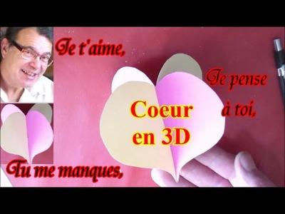 Fête  Saint Valentin, Grand Mère et Père : Bricolage carte cœur 3D