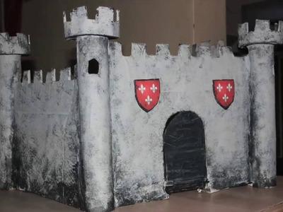 ID - DIY : faire un chateau fort en carton et papier mâché (time lapse)
