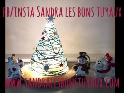 DIY deco de noel  mini sapin de Noël en coton ou en laine lumineux