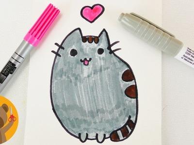 KAWAII FACEBOOK CAT DIY | Dessiner un adorable chat avec coeur pour une carte d'anniversaire