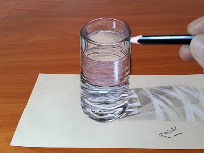 How to make a trick art 3D illusion on Paper - Cup of Water | Dessin 3D