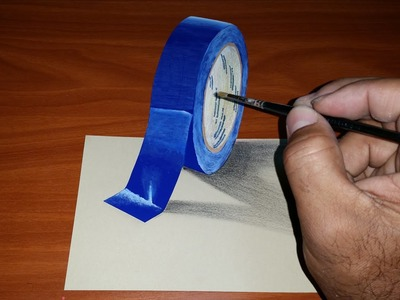 How to make a trick art 3d illusion on Paper - Scotch tape | Dessin 3D