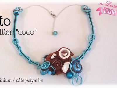 { Tuto } Collier coco en fil aluminium et pâte polymère. fimo