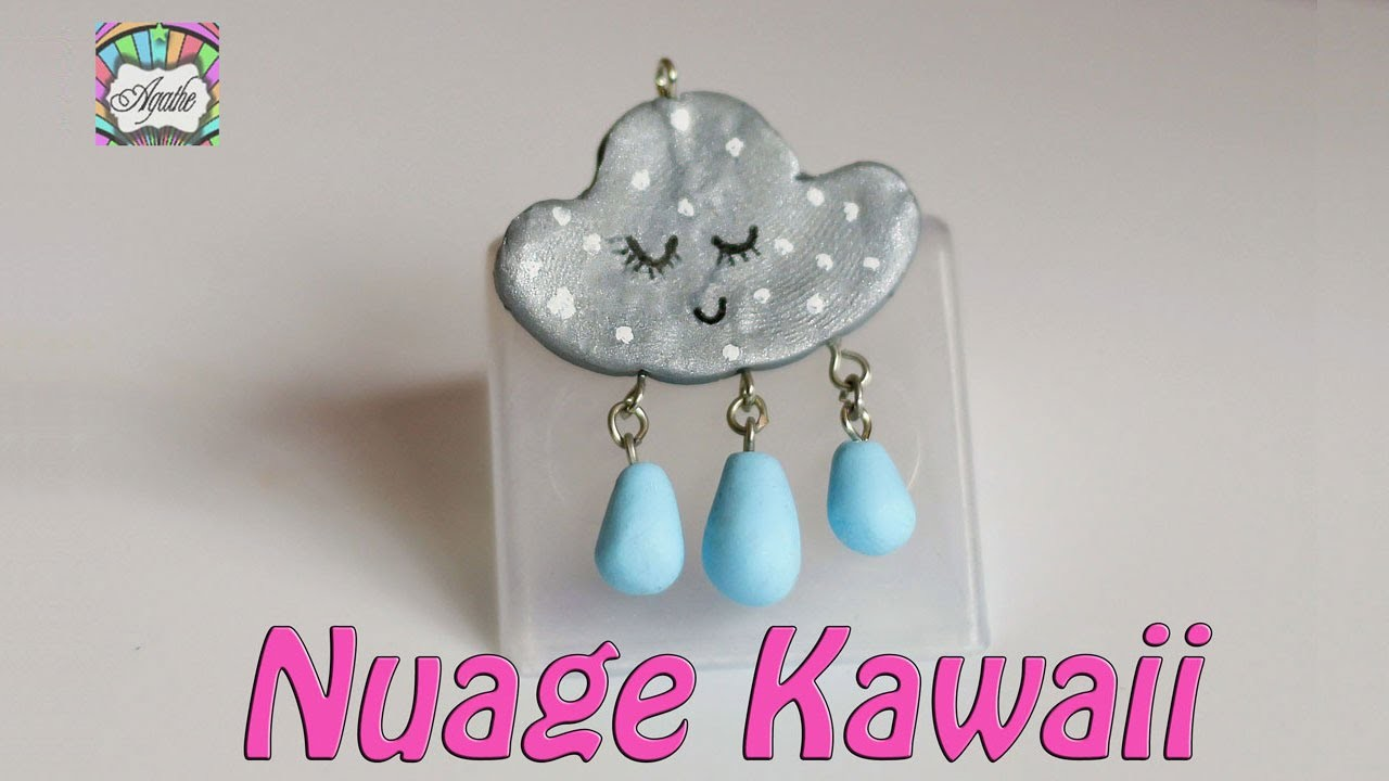 tuto fimo nuage kawaii pendentif. Black Bedroom Furniture Sets. Home Design Ideas