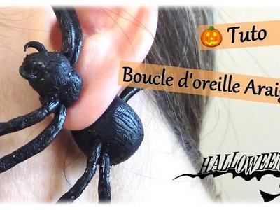 { Tuto halloween } Boucle d'oreille araignée. FIMO