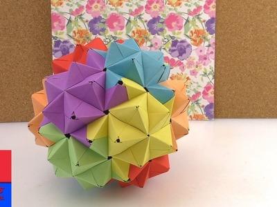 Sonobe Ball aux couleurs de l'Arc-en-ciel | La plus grosse étoile en Origami faite avec 120 éléments