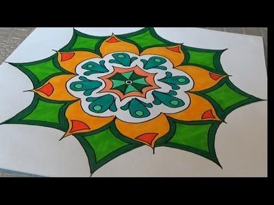 Dessiner un mandala facile (dessin et coloriage)