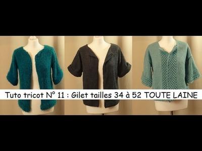 Tuto tricot 11 : tricoter un gilet femme tailles 34 à 52 TOUTE LAINE