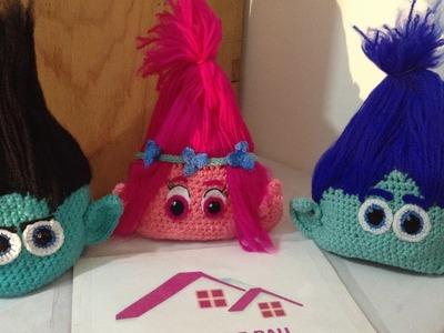 Gorro a crochet de troll poppy