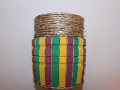 DIY recycler une boîte de conserve en pot à crayon. Upcycled DIY pencil holder
