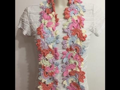 Tuto écharpe fleurie au crochet spécial gaucher