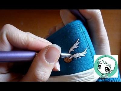 DIY - Golden snitch shoe.Déco chaussure vif d'or