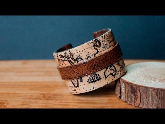 [TUTO] Bracelet Map Monde Vintage FIMO. Polymer Clay Cuff Bracelet