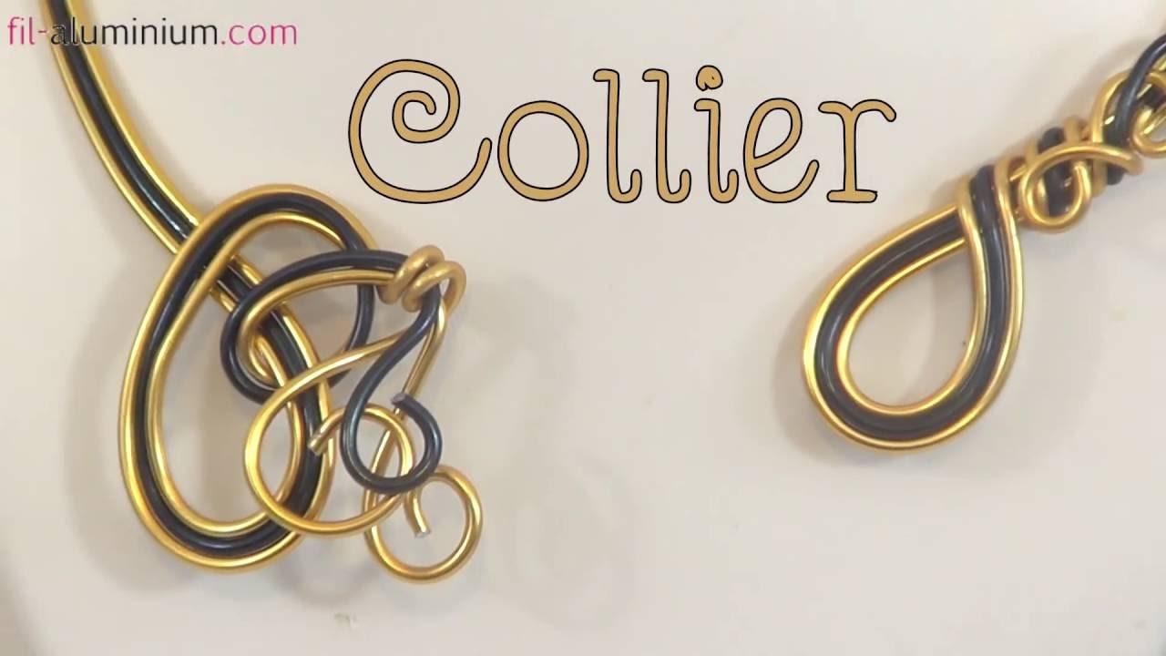► [ TUTO ] Création d'un Collier Boucle en fil aluminium noir et or