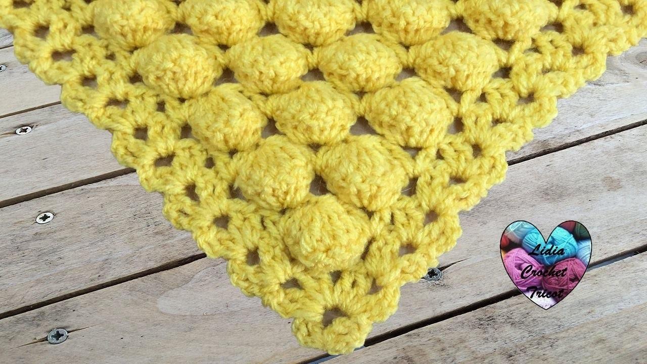 Châle boules crochet très facile. Shawl ball stitch crochet easy (english subtitles)
