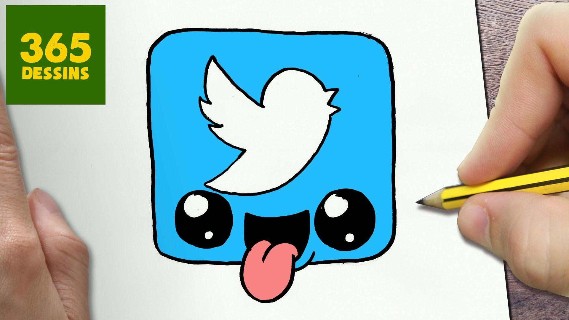 Comment Dessiner Logo Twitter Kawaii étape Par étape