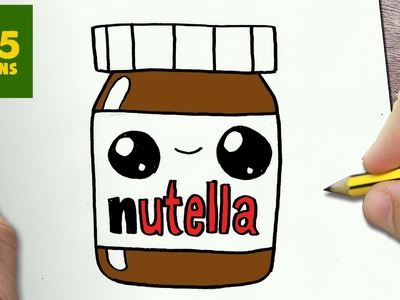 COMMENT DESSINER NUTELLA KAWAII ÉTAPE PAR ÉTAPE – Dessins kawaii facile