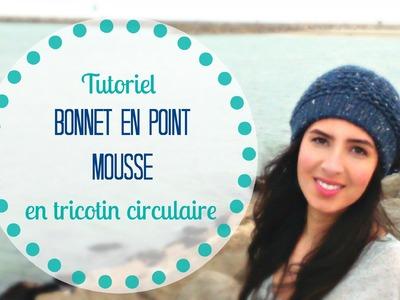 Tricoter un bonnet facile en point mousse en tricotin circulaire