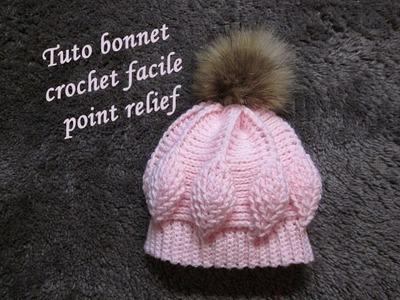 TUTO BONNET CROCHET POINT FEUILLE RELIEF relief crochet hat GORRO RELIEVE CROCHET