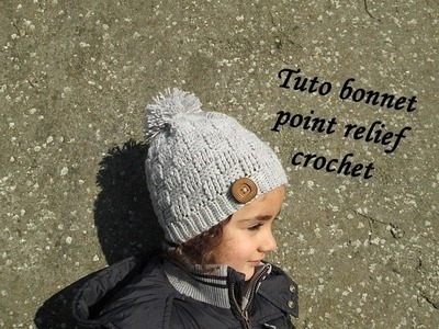 TUTO BONNET POINT DAMIER RELIEF AU CROCHET relief crochet hat GORRO RELIEVE TEJIDO CROCHET