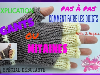 DIY.Tricoter les Doigts de Gants. Mitaines Pas à Pas.How to Knit Glove Fingers.Mittens.
