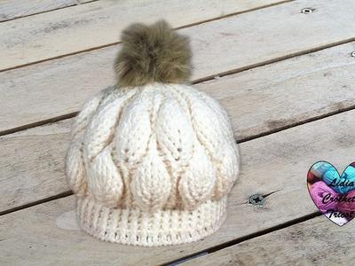 Bonnet feuilles en relief magnifique 2.2. Beanie (hat) leaf stitch (english subtitles)