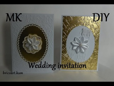 DIY.Tutoriel facile.2 x Faire part de mariage.Fleur Kanzashi.bricoart.kam