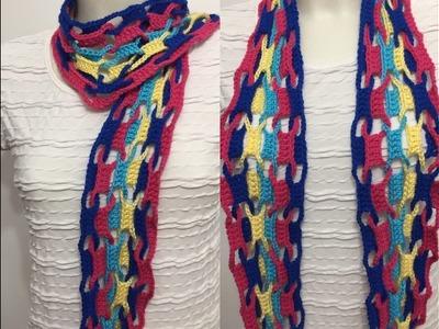 Tuto écharpe entrelacée au crochet spécial gaucher