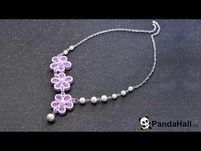 Vidéo 86(P) Comment faire un collier en papier quilling avec perles en verre nacré
