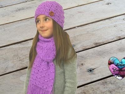 Ensemble écharpe bonnet crochet toutes tailles 2.2. Scarf and hat set crochet (english subtitles)