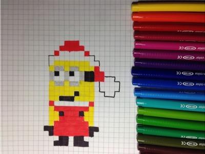 Comment dessiner un minion Père Noël Pixel Art