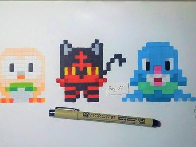 Pokemon Moon  Starter - Handmade Pixel Art