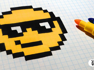 Handmade Pixel Art - How To Draw The Sunglasses emoji #pixelart