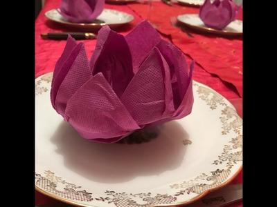 Fleur de Lotus, Pliage de serviette,  art de la table, Origami