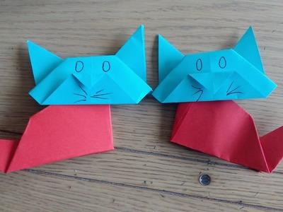 Origami facile : Le chat (the cat par Alexandre 6 ans)