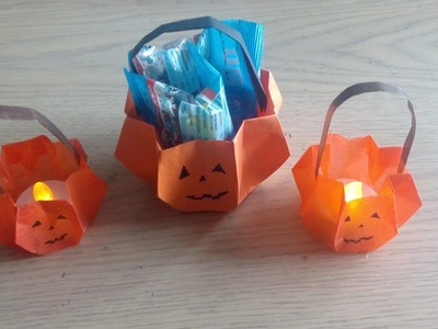 Origami : le panier citrouille d'Halloween (pumpkin basket par Alexandre 6 ans)