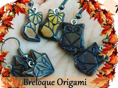 {Tuto automne } Breloque origami.renard, hibou et loup. tampon Aladine