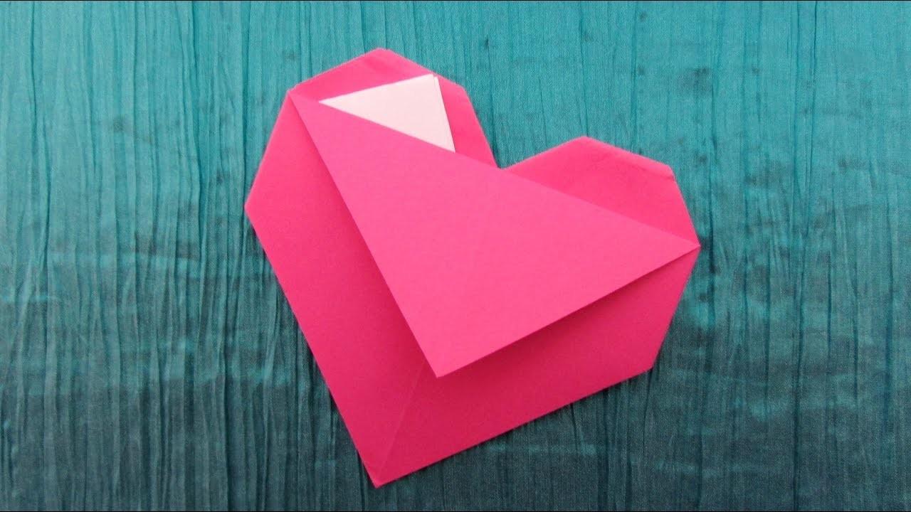 origami facile c ur pochette. Black Bedroom Furniture Sets. Home Design Ideas