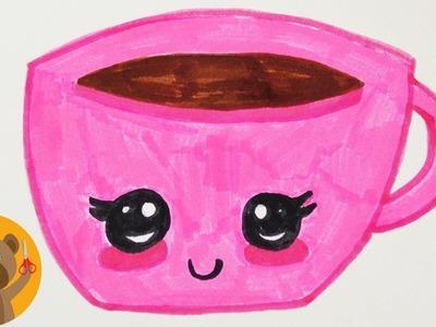 Dessiner une tasse KAWAII | Idée de dessin DIY pour des cartes d'anniversaire