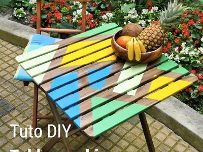 Tuto DIY  relooking graphique d'une table de jardin en bois