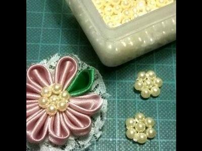 #74 - Como faço Chatom flor de pérolas -  DIY - Satin Flower.kanzashi