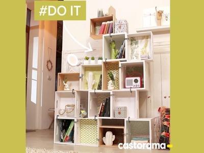 DIY : fabriquer une bibliothèque avec des boîtes de rangement - Castorama