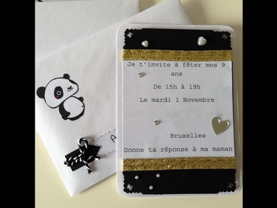 DIY Tuto facile - carte invitation PANDA anniversaire - 004