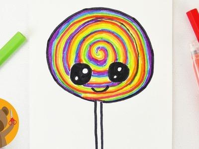 Dessiner une sucette aux couleurs de l'arc-en-ciel | Adorable Rainbow Lollipop à faire soi-même