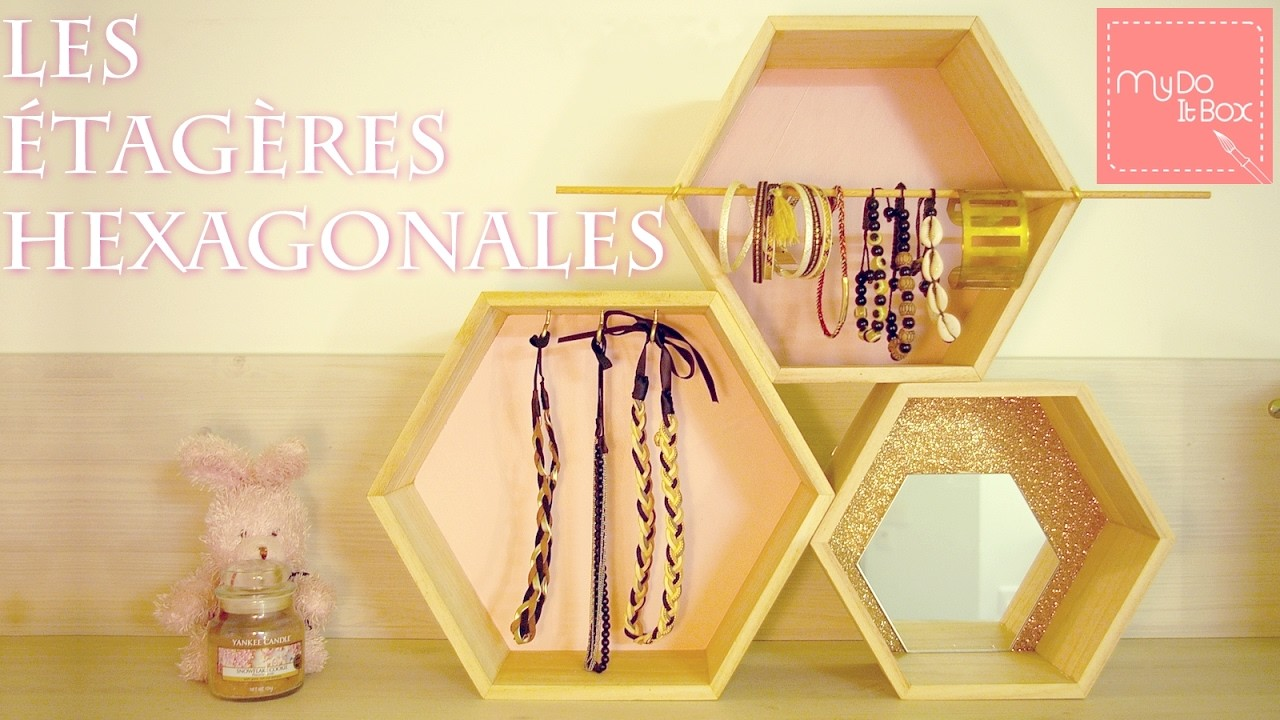 diy des tag res hexagonales personnalis es. Black Bedroom Furniture Sets. Home Design Ideas