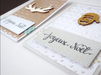 Petites cartes de Noël avec embellissements bois    -scrapbooking-