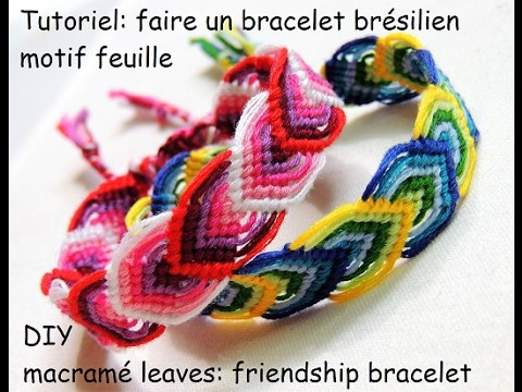tutoriel faire un bracelet br silien motif feuille diy macram leaves friendship bracelet. Black Bedroom Furniture Sets. Home Design Ideas